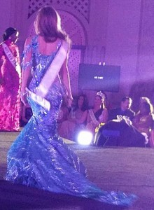 back of blue gown